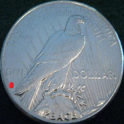 Silver Peace Dollar Reverse View